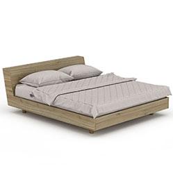 木纹简约现代双人床模型