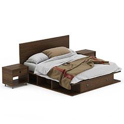 储物双人床套装组合模型