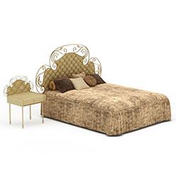 欧式舒适布艺床模型