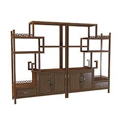 复古实木红酒架3d模型