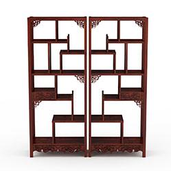 中式红木博古架3d模型
