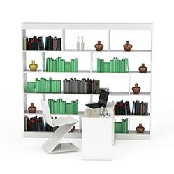 现代简欧书架置物架模型