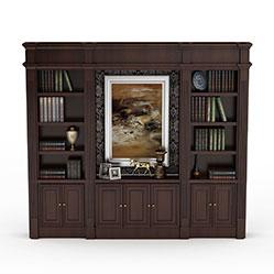 欧式古典实木书柜模型