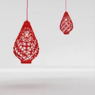 3D红色镂空吊灯模型