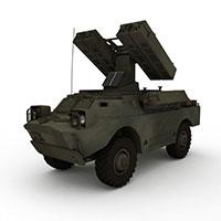 军用防空导弹车模型