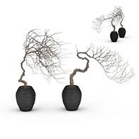 3D艺术花盆景观模型