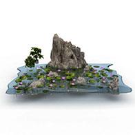 荷花假山3D模型