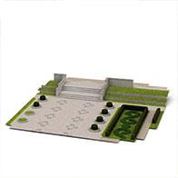 3D现代园林场景模型